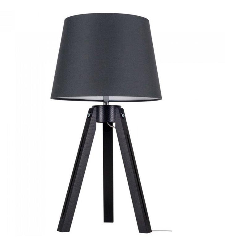 Lampa stołowa Tripod czarna drewniana podstawa materiałowy abażur antracyt do sypialni salonu jadalni