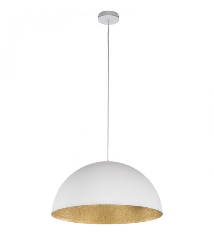 Wisząca duża biała lampa wewnątrz złota Tuba 700 do salonu sypialni jadalni kuchni nad stół