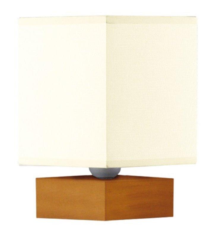 Lampa stołowa Arbor mała z drewnianą podstawą kolor olcha kwadratowy abażur ecru - OD RĘKI