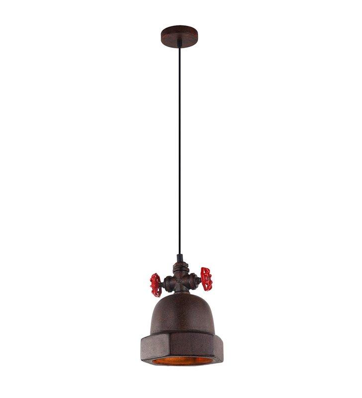 Lampa wisząca Cappo loftowa industrialna kolor rdzawy z czerwonymi elementami do salonu kuchni jadalni do pokoju nastolatka