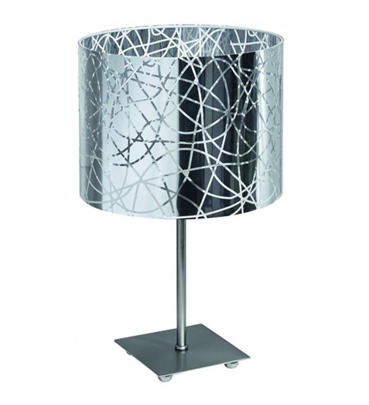 Satynowa lampa stołowa Lilo okrągły dekorowany abażur - DOSTĘPNA OD RĘKI