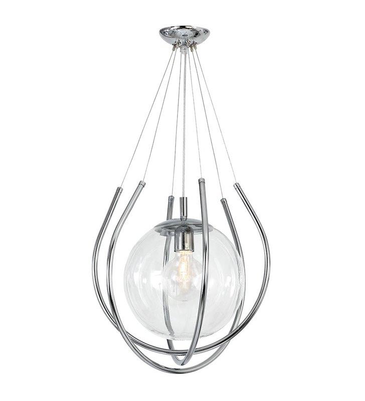 Oryginalna lampa wisząca From Chrom szklana bezbarwna kula z chromowymi dekoracyjnymi prętami nowoczesna