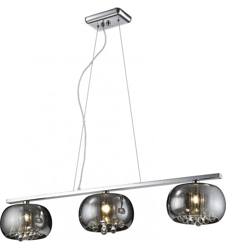 Lampa wisząca Rain 3 punktowa klosze z efektem strug deszczu wewnątrz kryształki do salonu jadalni sypialni nad stół