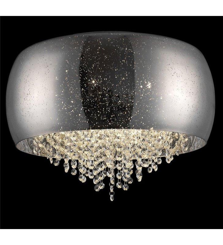 Plafon Vista 500 efektowny elegancki ze szklanym kloszem ozdobionym kryształkami do salonu sypialni na przedpokój