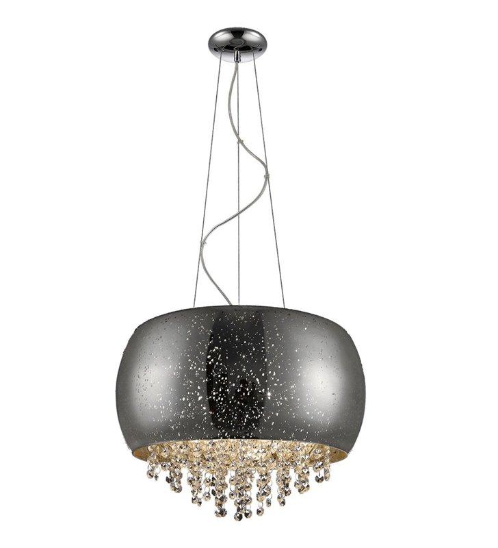 Lampa wisząca Vista elegancka szklana z dekoracyjnymi kryształami wewnątrz klosza efekt kropli deszczu