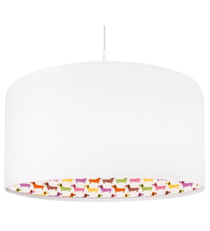 Lampa wisząca Kolorowe Jamniki do pokoju dziecka od wewnątrz nadruk w pieski na zewnątrz biała welurowa