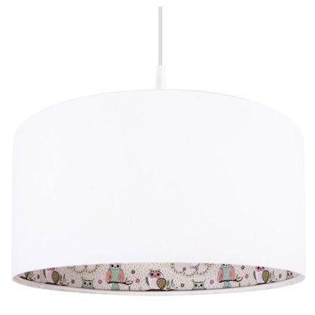 Lampa wisząca Wesoła Sówka nadruk od wewnętrznej strony biały abażur do pokoju dziecka