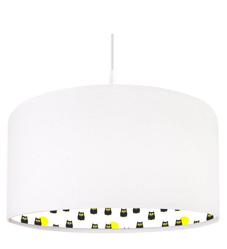 Lampa wisząca do pokoju dziecięcego Hipnotyczne Sówki biały welurowy abażur z kolorowym nadrukiem od wewnątrz