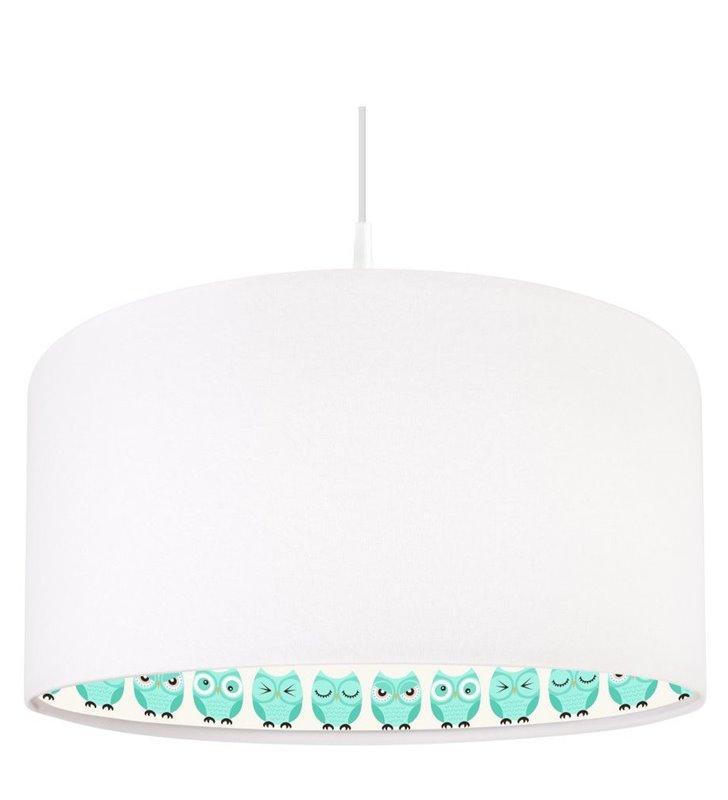 Lampa wisząca Wielkookie Sówki nadruk wewnątrz białego welurowego abażura