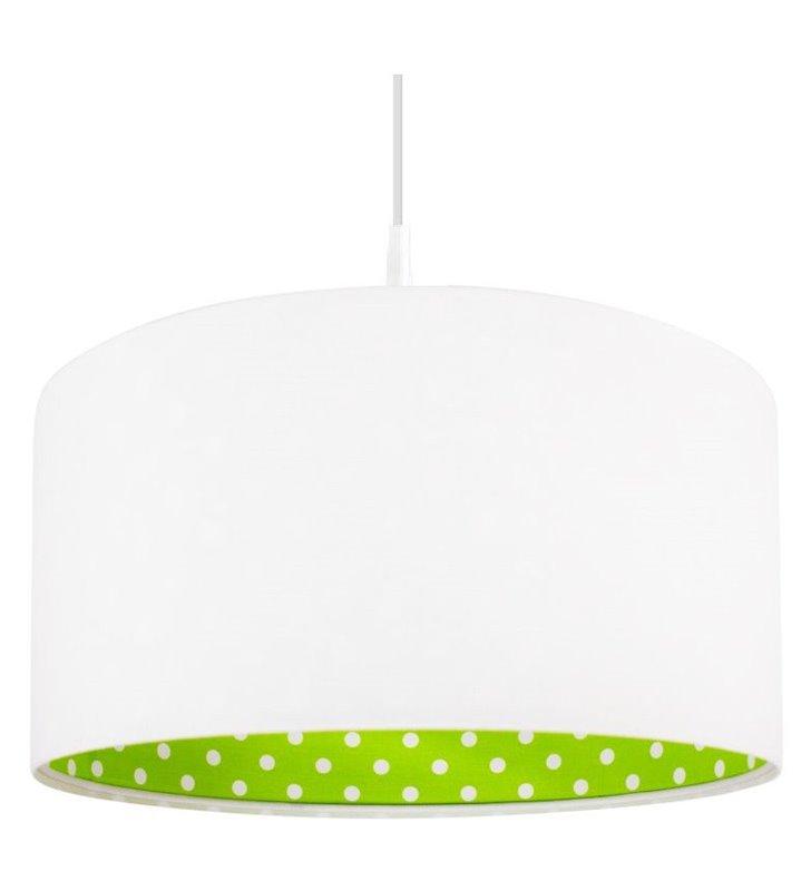 Biało zielona lampa wisząca w kropki Ella
