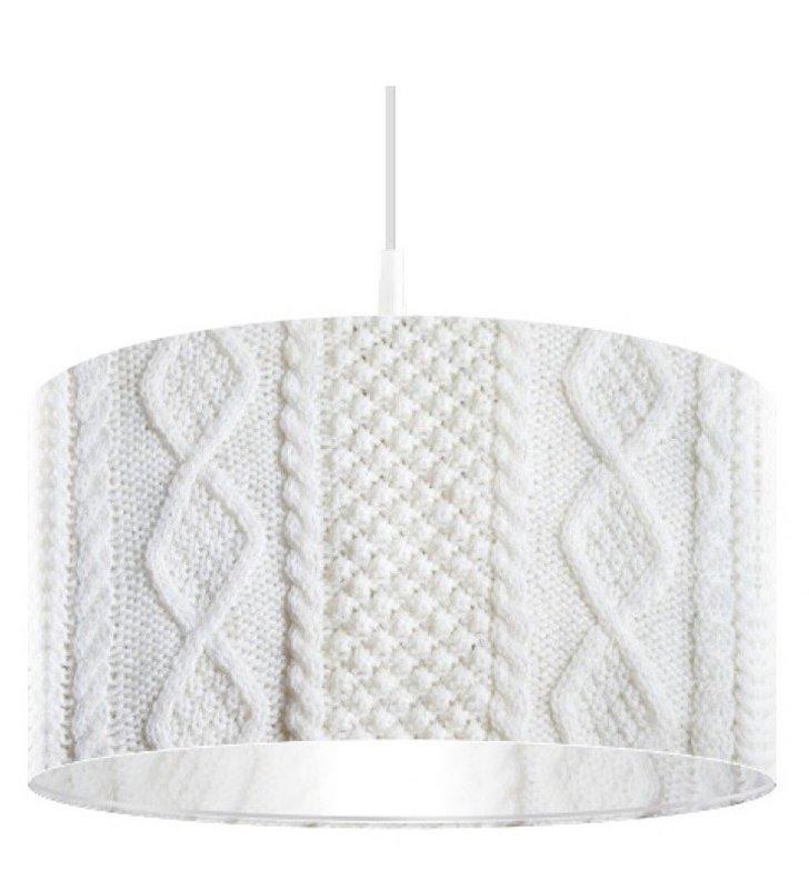 Biała lampa wisząca Ciepły Sweterek ciekawy wzór