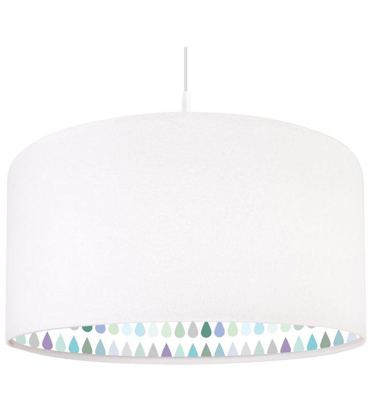 Biała welurowa lampa wisząca Alierka z kolorowym wnętrzem
