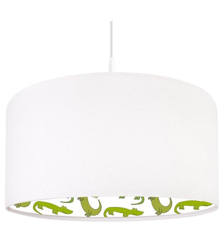 Biała lampa wisząca Zielone Krokodylki do pokoju dziecka
