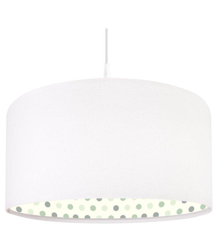Lampa wisząca Stella biała z pastelowymi kropkami wewnątrz abażura do pokoju dziecięcego