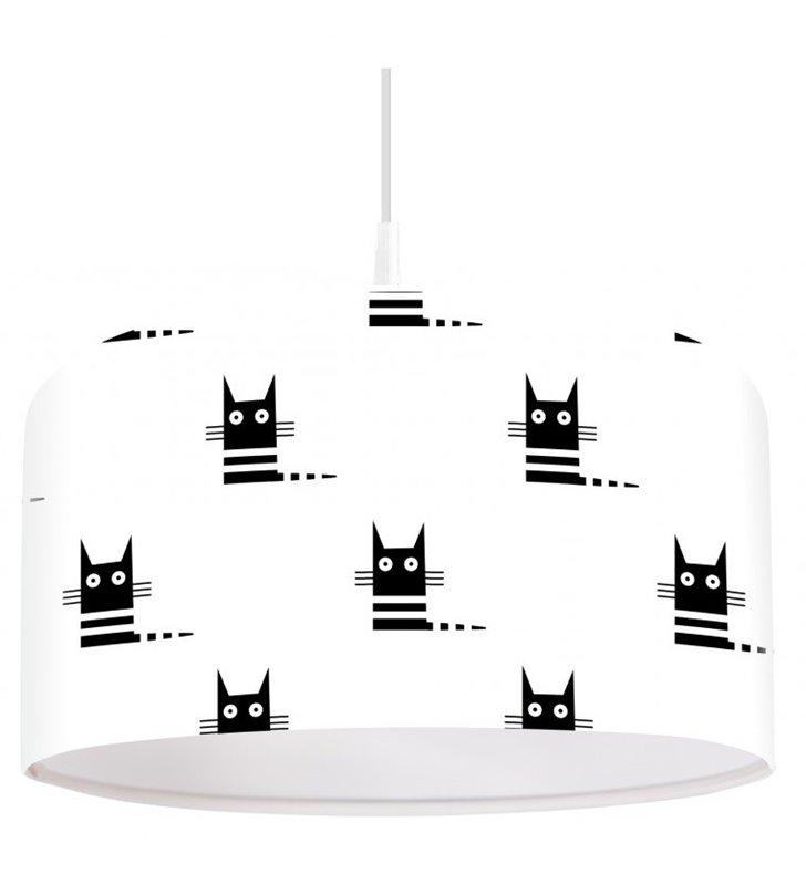 Biała lampa wisząca w czarne kotki do pokoju dziecka Czarne Kociaki