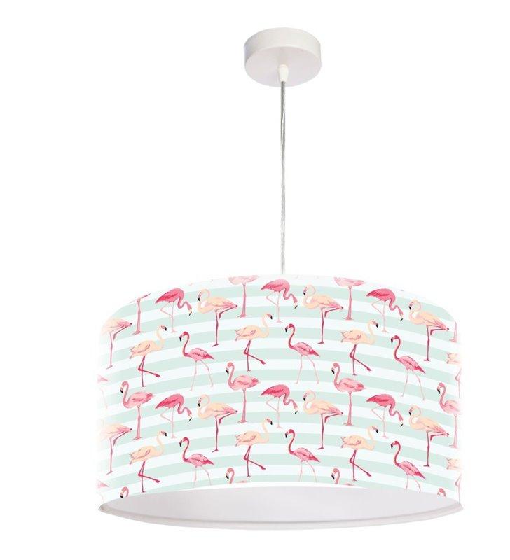Lampa wisząca Flamingi oryginalna abazur z kolorowym nadrukiem z flamingami