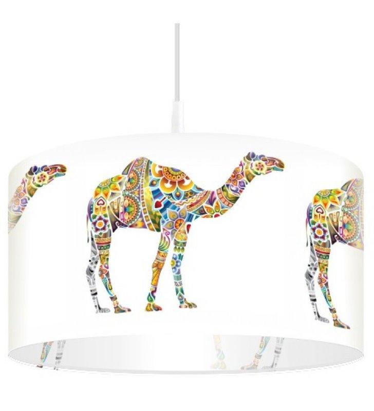 Lampa wisząca Egzotyczne Wielbłądy abażur z kolorowym nadrukiem