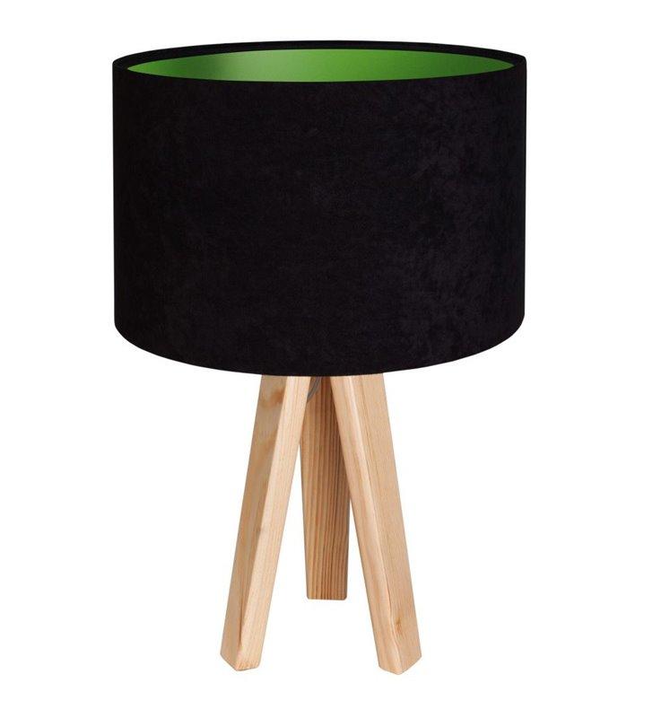 Lampa stołowa Gloria Zielona czarny welurowy abażur z zielonym środkiem na drewnianym trójnogu do sypialni salonu jadalni