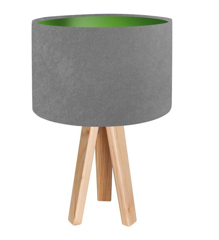 Szaro zielona lampa stołowa na drewnianym sosnowym trójnogu Kamelia Zielona