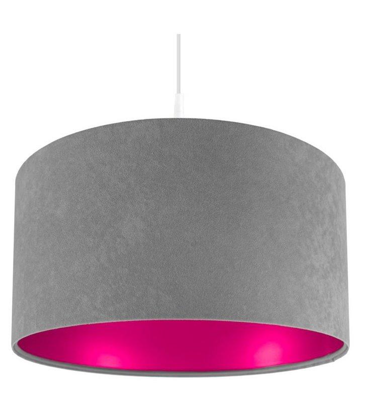 Lampa wisząca Kamelia Różowa szary welurowy abażur z różowym wnętrzem