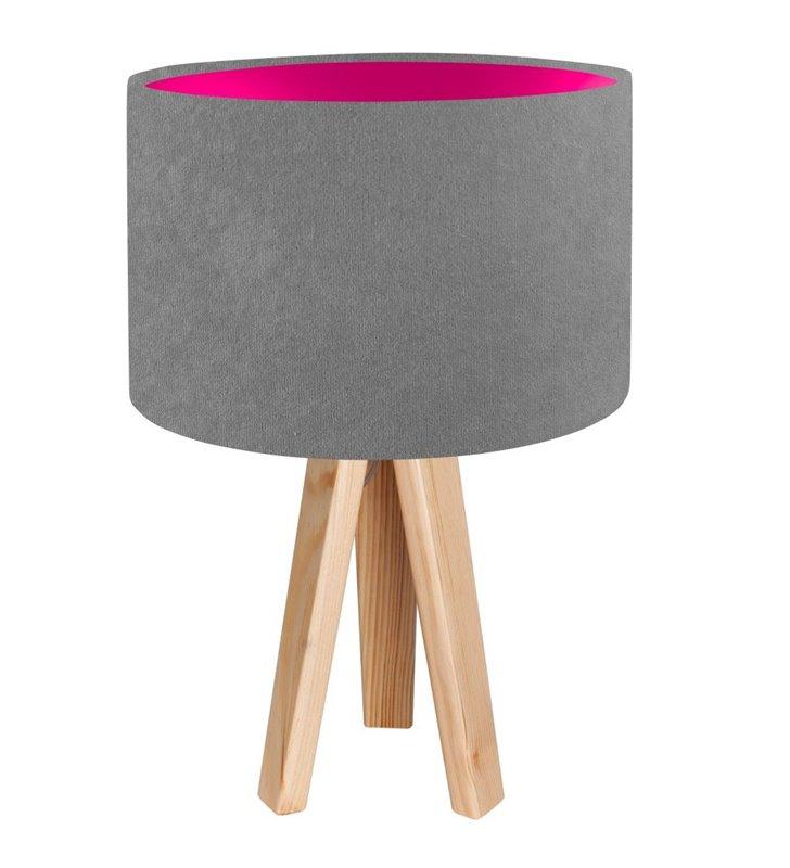 Lampa stołowa Kamelia Różowa szaro różowa na sosnowym trójnogu