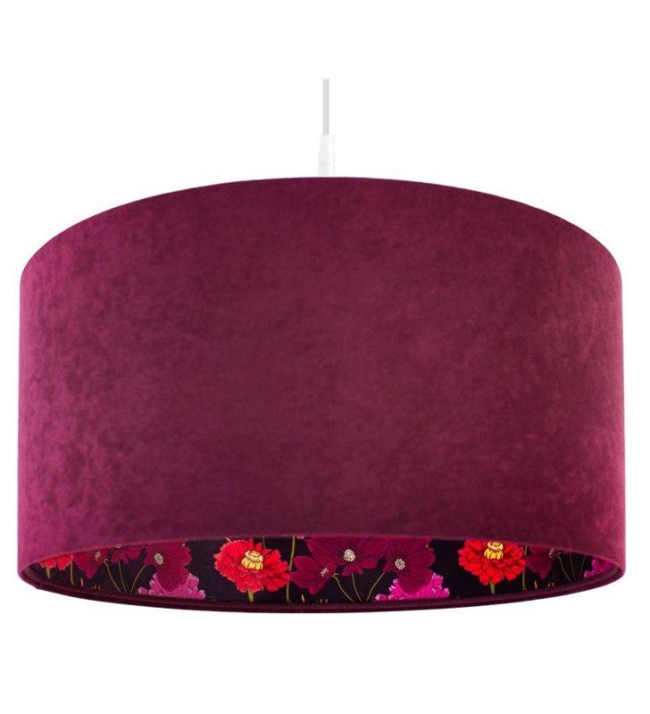 Lampa wisząca Savanna bordowy welurowy abażur wewnątrz kwiatowy wzór