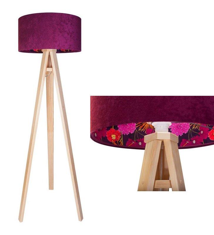 Lampa podłogowa Savanna bordowy abażur z kwiatowym nadrukiem od wewnątrz podstawa drewniana sosnowy trójnóg