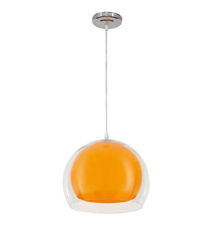 Pomarańczowa lampa wisząca Malta kula z podwójnym kloszem z tworzywa