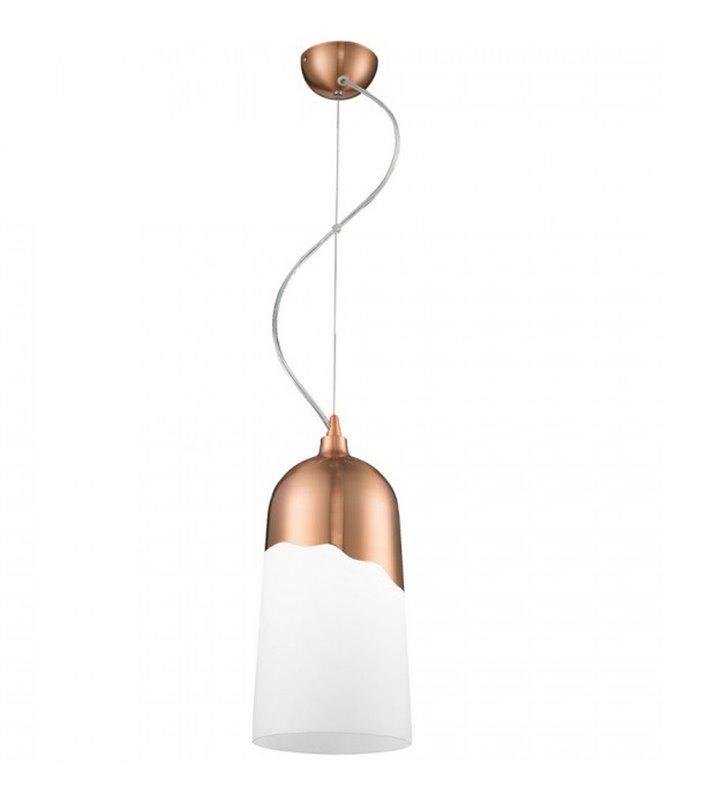 Lampa wisząca Daga ciekawe połączenie metalu w kolorze miedzi z białym szkłem do salonu kuchni jadalni nad stół