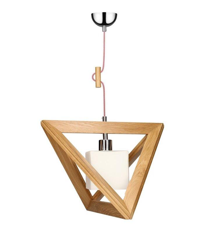 Drewniana dębowa lampa wisząca z kwadratowym szklanym kloszem Trigonon (K) przewód czerwono biały lub inny do wyboru