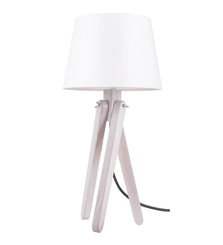Jasna lampa stołowa Rune podstawa z drewna dąb bielony abażur biały przewód antracytowy - OD RĘKI