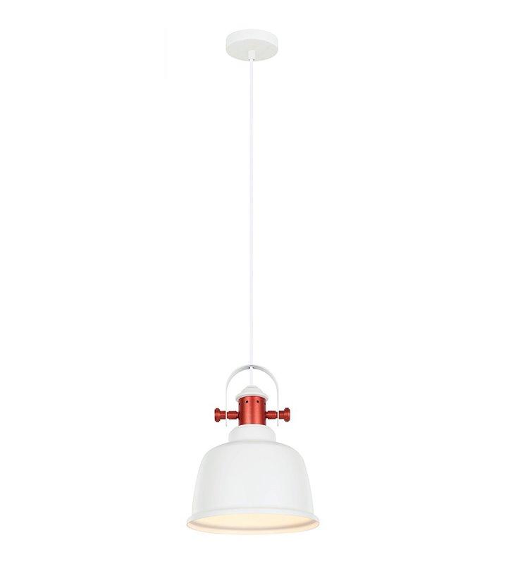 Lampa wisząca Treppo biała metalowa z miedzianym wykończeniem styl loftowy