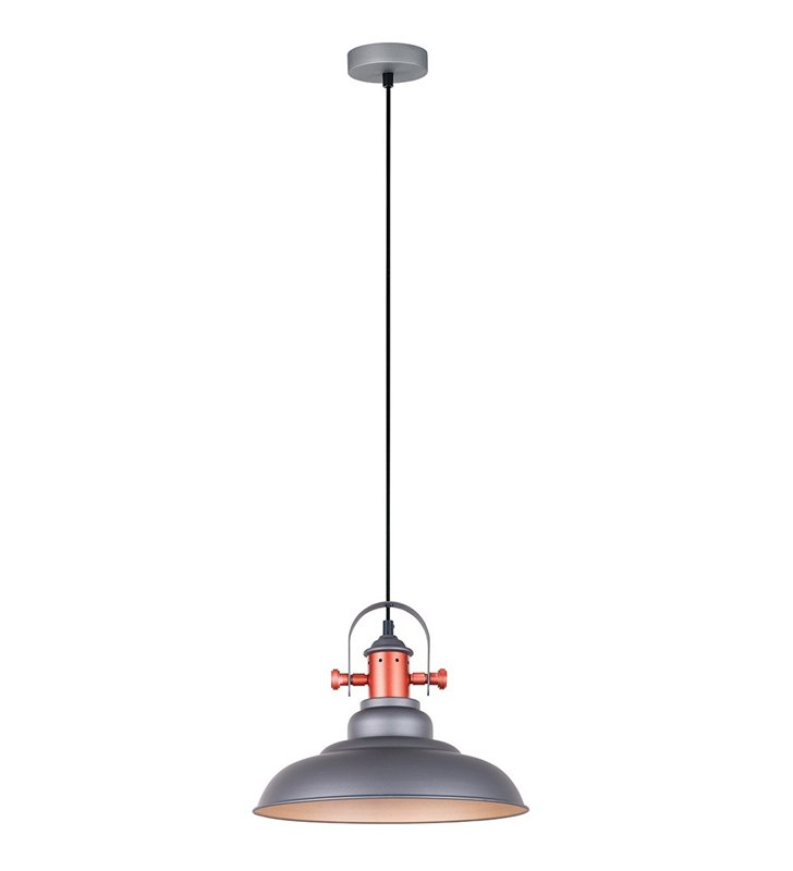 Loftowa szara lampa wisząca Temper z miedzianym wykończeniem