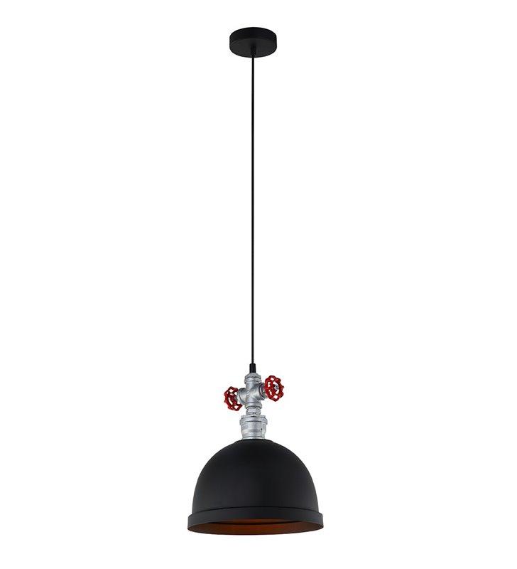 Industrialna metalowa okrągła czarna lampa zwisająca Mokka z czerwonymi zaworami