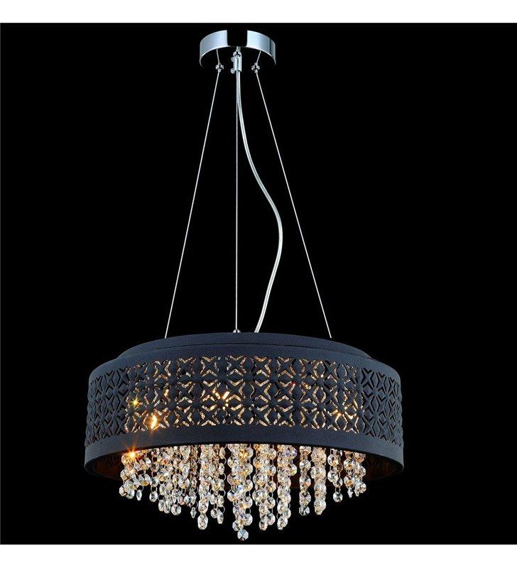 Lampa wisząca Doris czarna ozdobna z kryształkami wewnątrz klosza do salonu jadalni kuchni sypialni