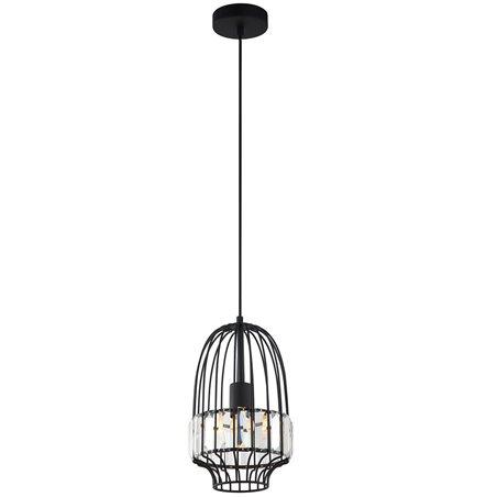 Lampa wisząca Notting czarna druciana ozdobiona bezbarwnymi szkiełkami