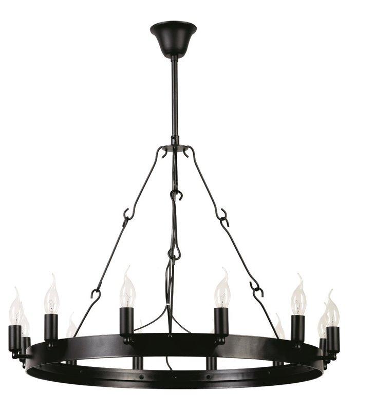 Duży czarny metalowy żyrandol świecznikowy Bellona obręcz z 12 punktami świetlnymi
