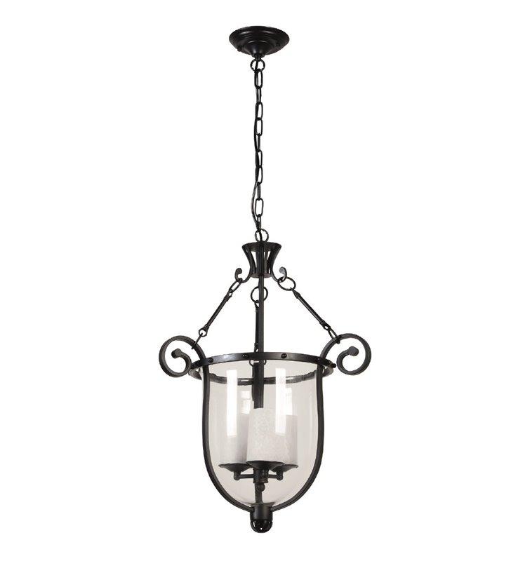 Lampa wisząca Bellona czarna potrójna ze szklanym kloszem do kuchni jadalni salonu sypialni