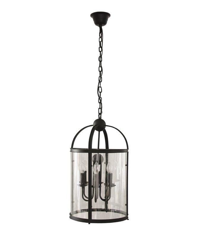 Czarna 6 punktowa świecznikowa lampa wisząca Bellona ze szklanym kloszem do jadalni kuchni salonu sypialni