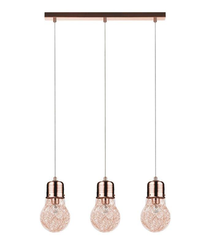 Lampa wisząca Bulb potrójna klosze szklane w kształcie żarówek z drucikami wewnątrz