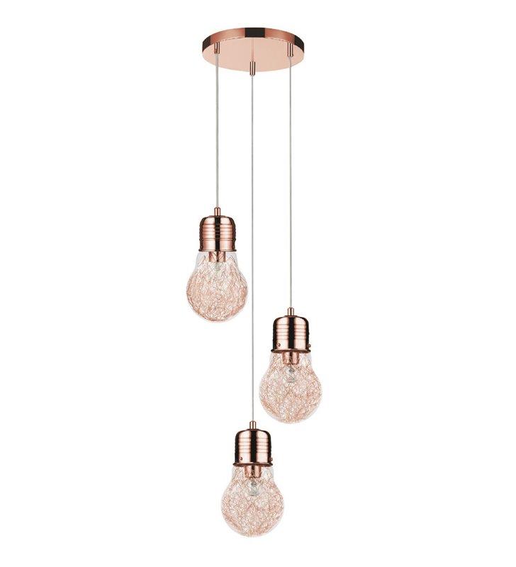 Lampa wisząca Bulb potrójna miedziana kaskada klosze szklane w kształcie żarówek nad stół schody do salonu sypialni jadalni