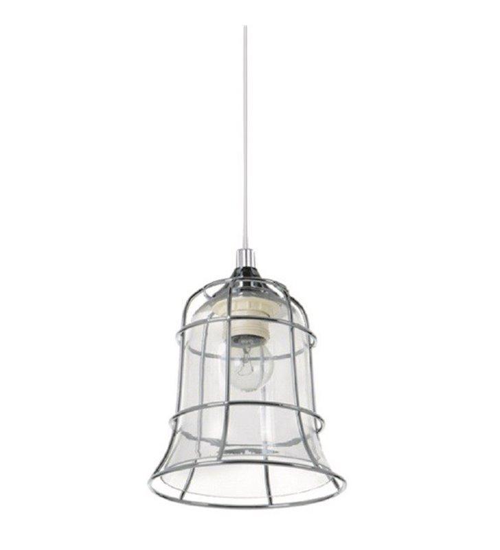 Lampa wisząca Chicka podwójny klosz metalowy w kolorze chrom wewnątrz szklany transparentny pojedyncza mała
