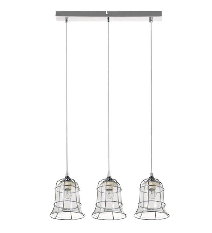 Lampa wisząca Chicka 3 płomienna na belce podwójny klosz metalowy chromowany szklany bezbarwny do kuchni jadalni salonu nad stół