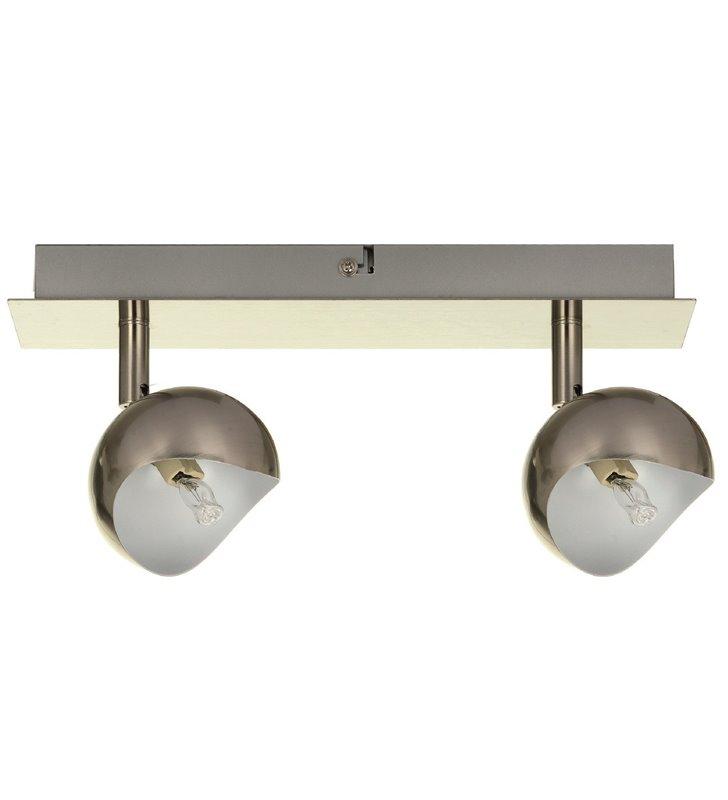 Lampa sufitowa Kumi podwójna w kolorze satyny klosze wewnątrz w kolorze białym