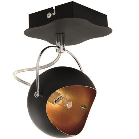 Nowoczesna lampa ścienno sufitowa Kana czarna ze złotym wnętrzem klosza