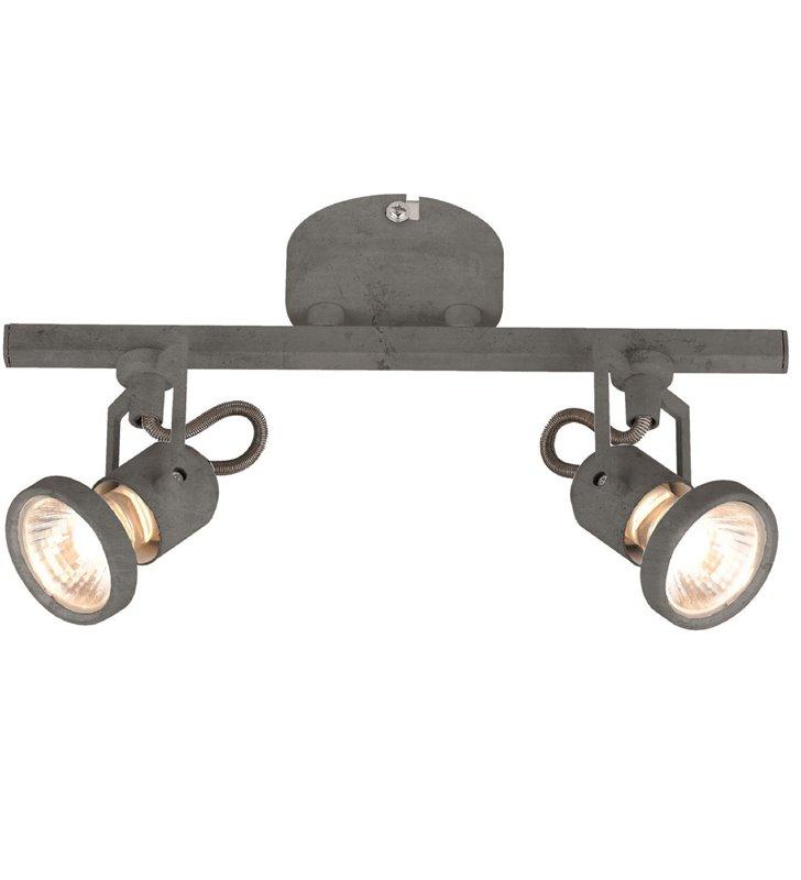 Lampa sufitowa Concreto metalowa podwójna w kolorze betonu styl industrialny loftowy
