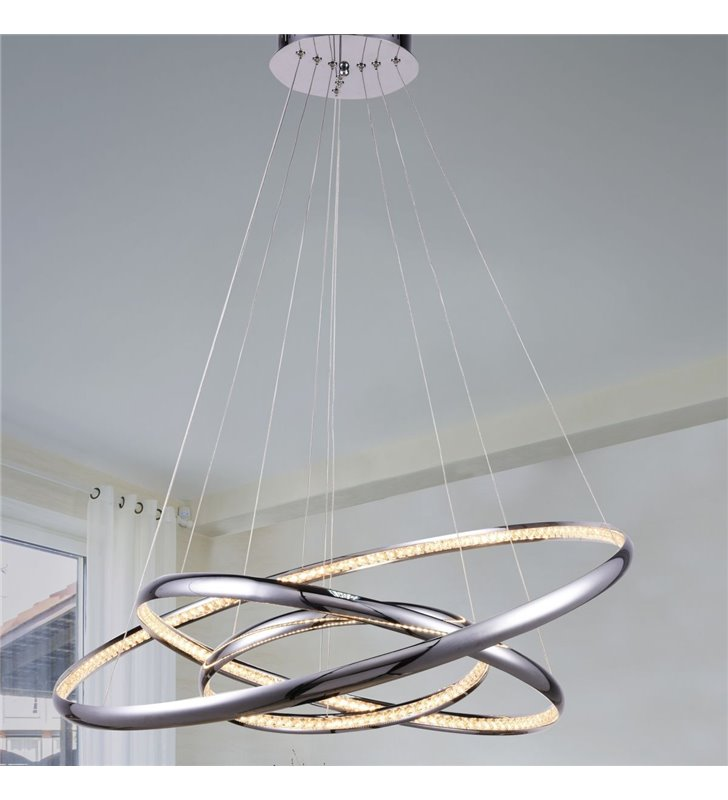 Lampa wisząca Brighton LED 3 metalowe obręcze ozdobione kryształkami nowoczesna duża do salonu jadalni