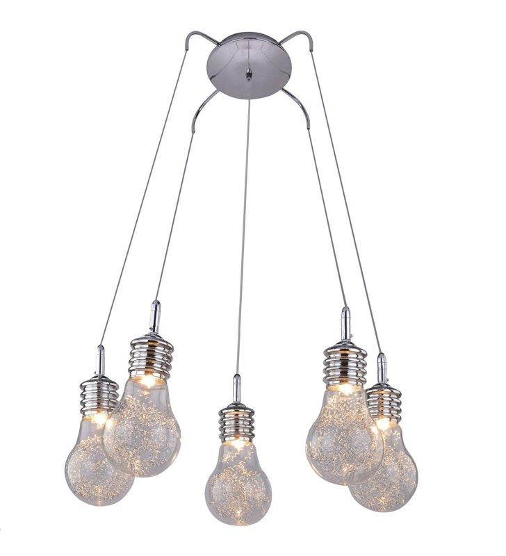 5 punktowa lampa wisząca Otus klosze szklane w kształcie żarówek z metalowymi sprężynkami do salonu jadalni kuchni nad stół