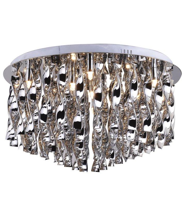 Plafon Jewel 900 bardzo duży efektowny elegancki ze szklanymi ozdobnymi serpentynami w kolorze chrom