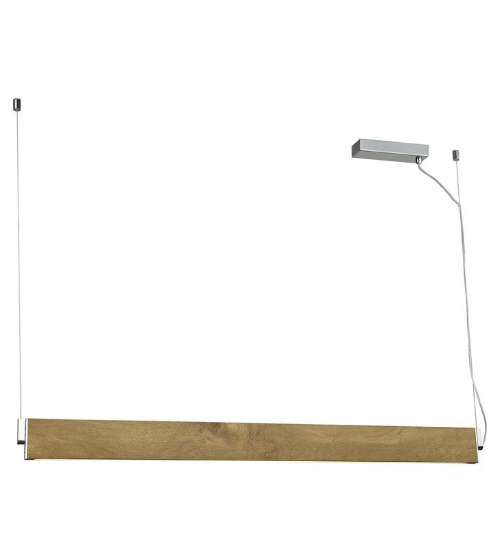 Podłużna wąska lampa wisząca w kolorze drewna Norman 2 położenia klosza
